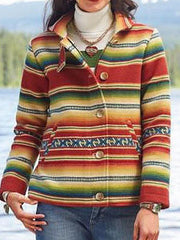 Vintage Multicolor Striped Printed Jackets Buttoned Down Coats