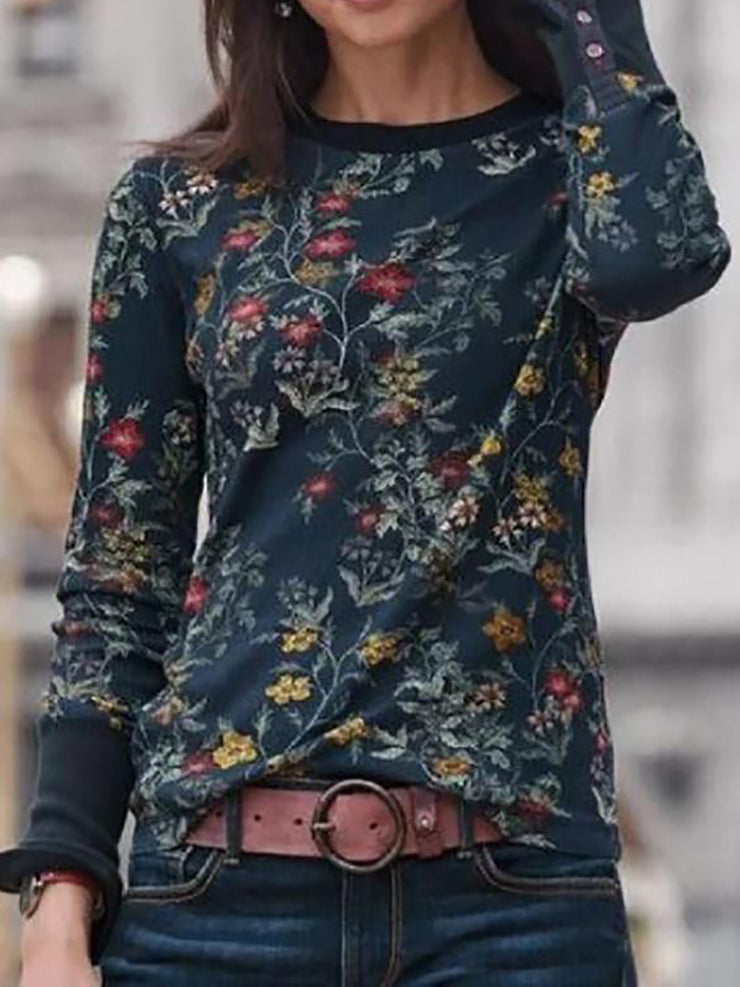 Retro Floral Printed Long Sleeve Women T-shirts
