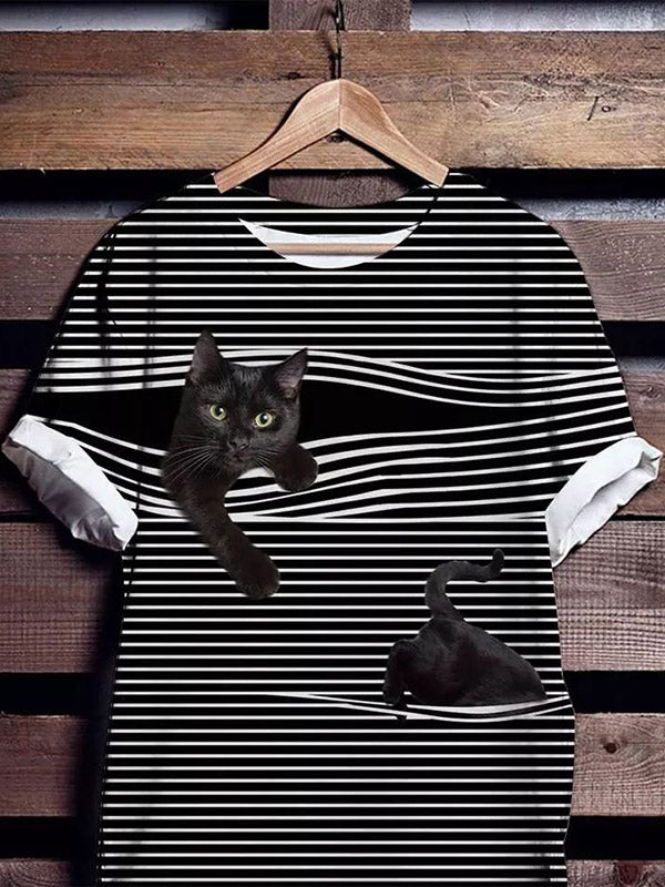 Cat Pattern Short Sleeve Striped Shirts & Blouses Shirts