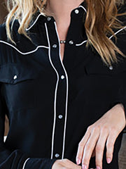 Solid Long Sleeve Buttoned Women Shirts