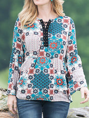 Vintage Printed Eyelet Long Sleeve Women Tops