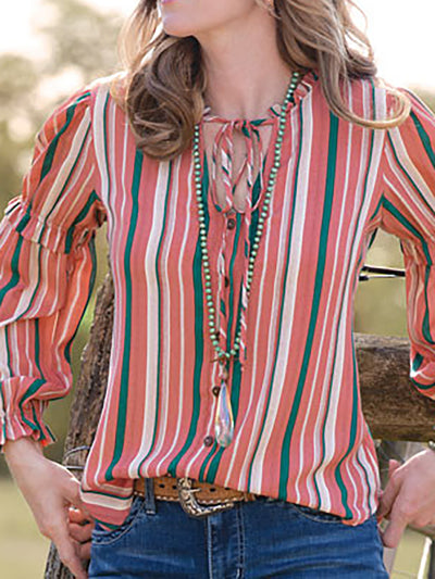 Multicolor Striped Long Sleeve Women Shirts
