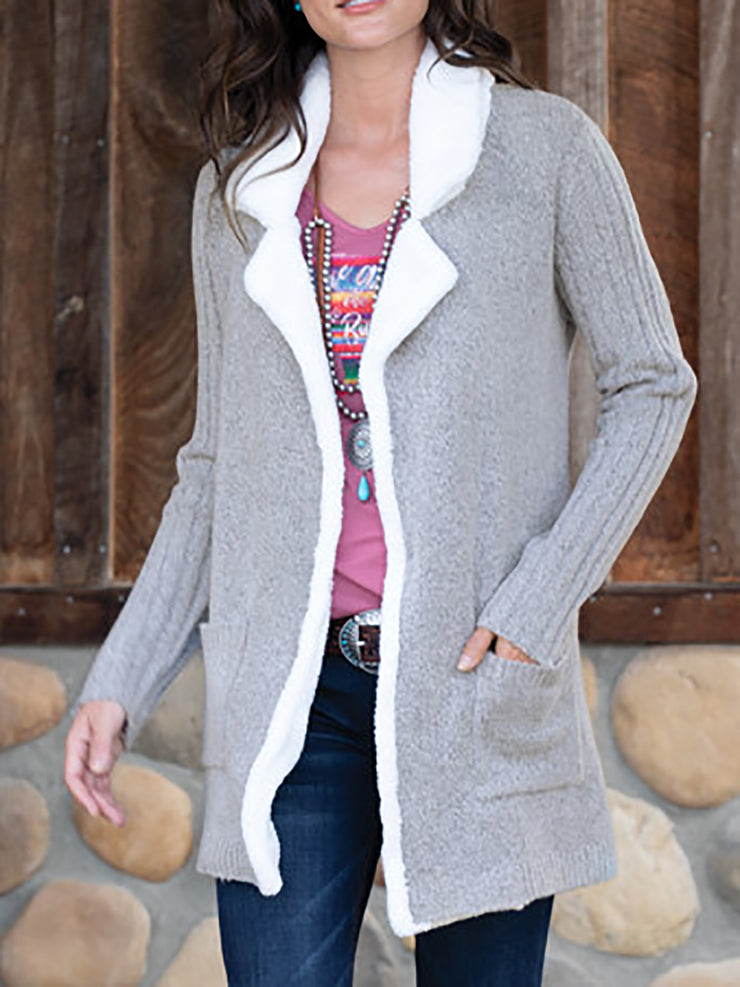Solid Pockets Knitted Women Cardigans