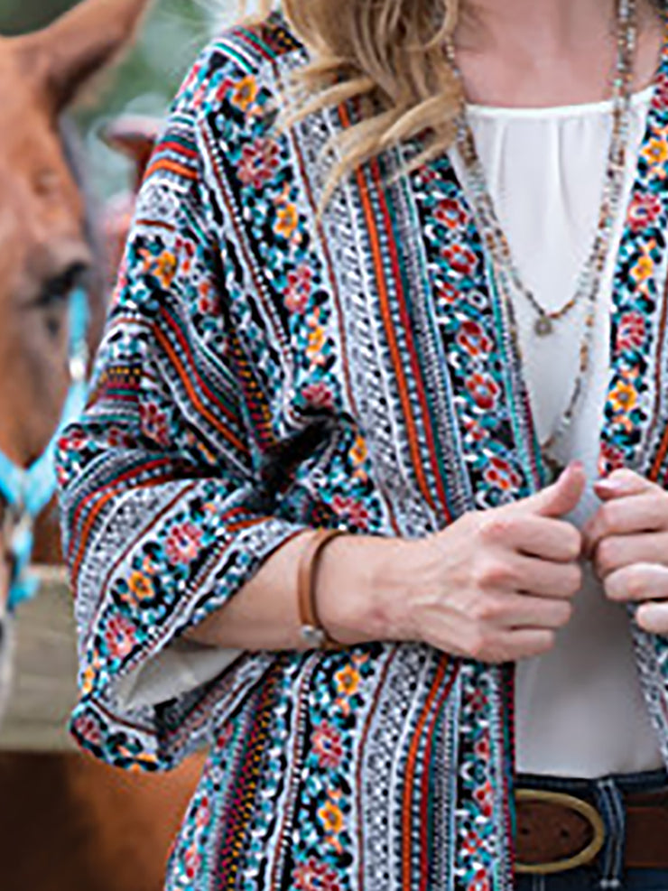 Tribal Printed Long Sleeve Women Cardigans Kimonos