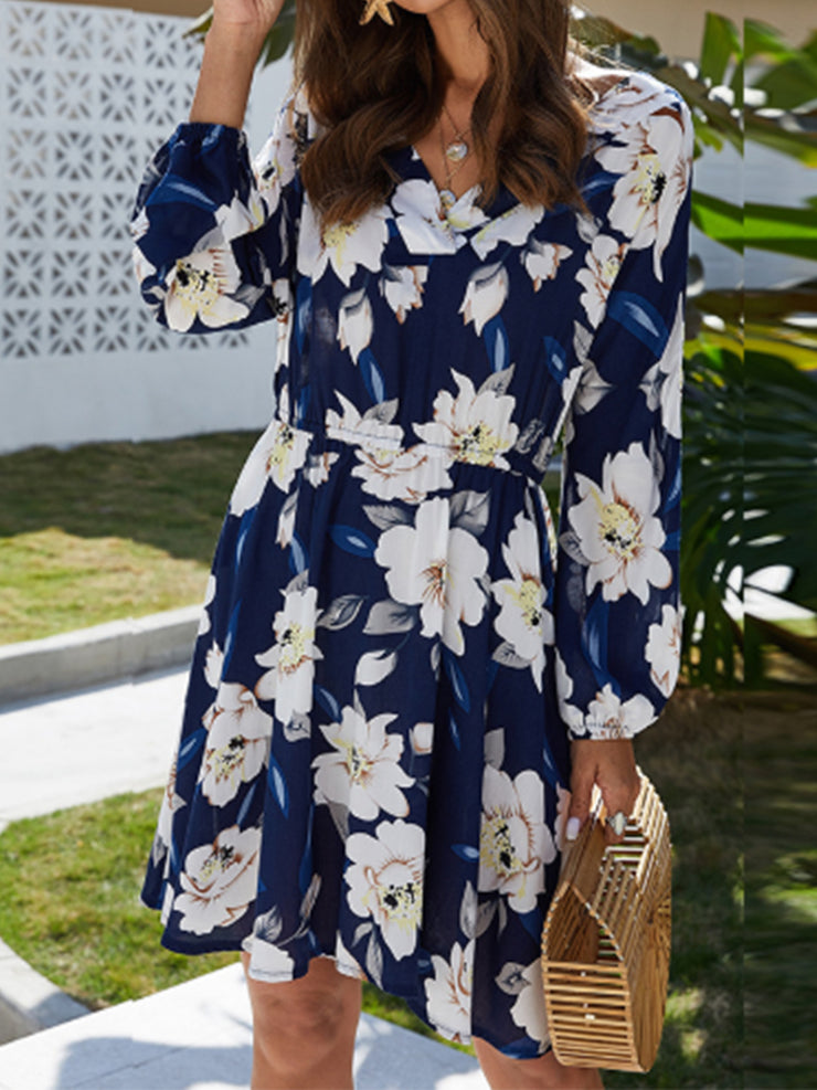 Women's V Neck Long Sleeve Plus Size Slim Fit Floral Dress