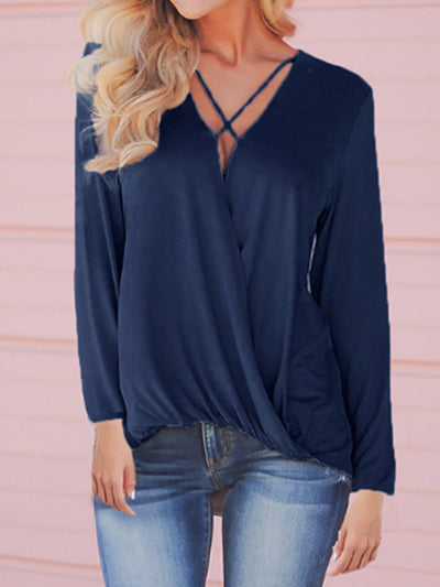 Women's V Neck Long Sleeve Plus Size Slim Fit Casual Shirt