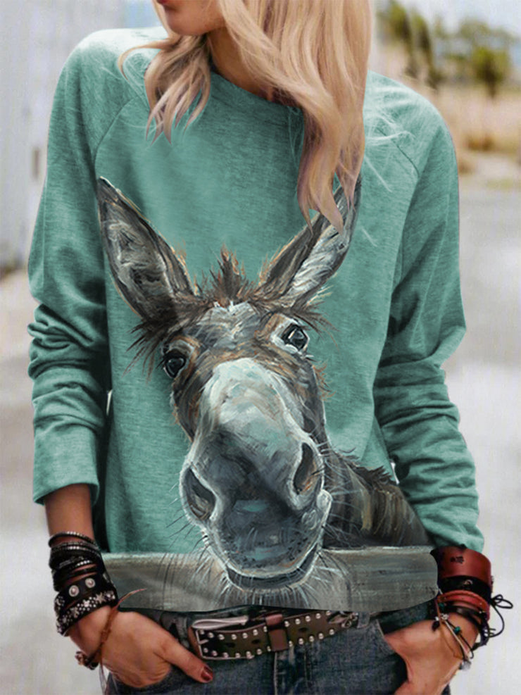 Women's Plus Size Donkey Crew Neck Long Sleeve Casual Tees