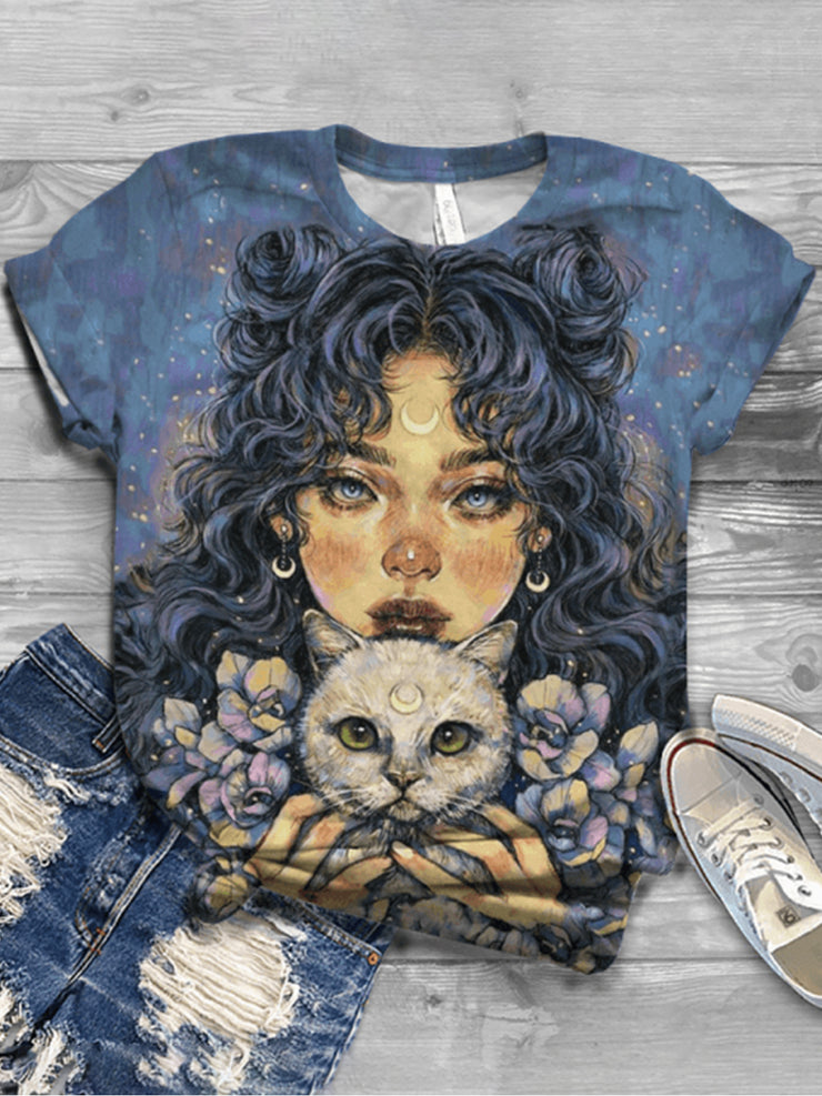 Women Abstract Cat Print Short Sleeves Casual Tees
