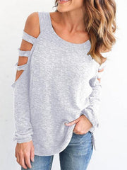 Long Sleeve Cold Shoulder Tops