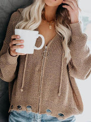 Casual Zipper Long Sleeve Cardigan Sweater