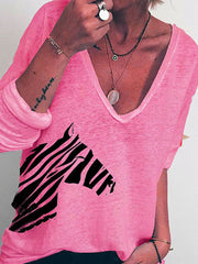 Women'S V-Neck Long-Sleeved Animal Print T-Shirt