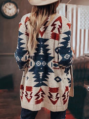 Vintage Tribal Knitted Women Sweater Cardigans