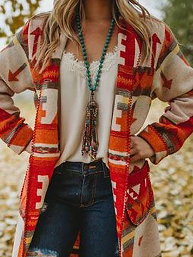 Ethnic Pockets Printed Women Long Cardigans