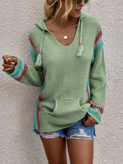 Striped Stitching V-Neck Hooded Loose Sweater
