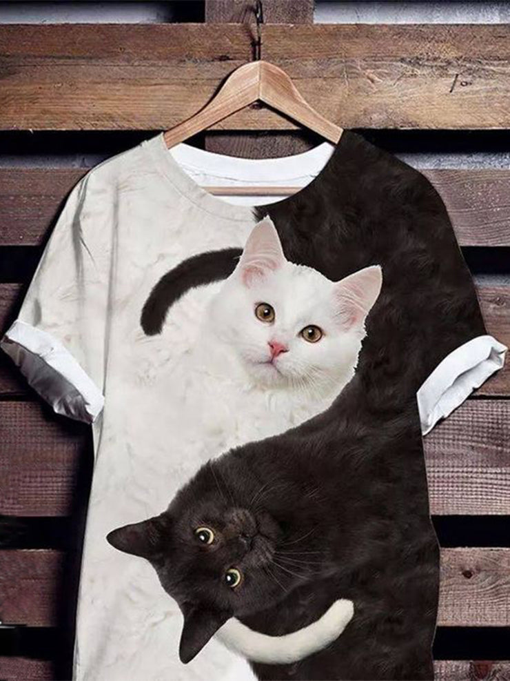 Women Black Cat White Cat Print Short Sleeves Casual Tees