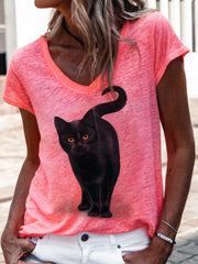 Women Black Cat Print Short Sleeves Casual Tees