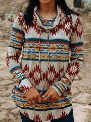 Aztec Printed Long Sleeve Cowl Neck Women Tops