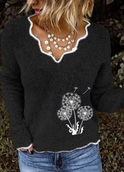 Women Ruffle Collar Dandelion Print Casual Sweater