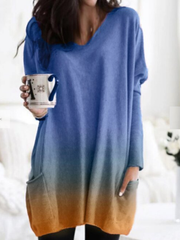 Women V-neck Loose Gradient Long Sleeved Top