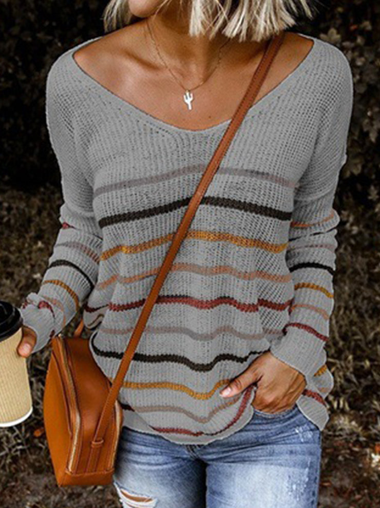 Women's Striped V-Neck Buttoned Sweater