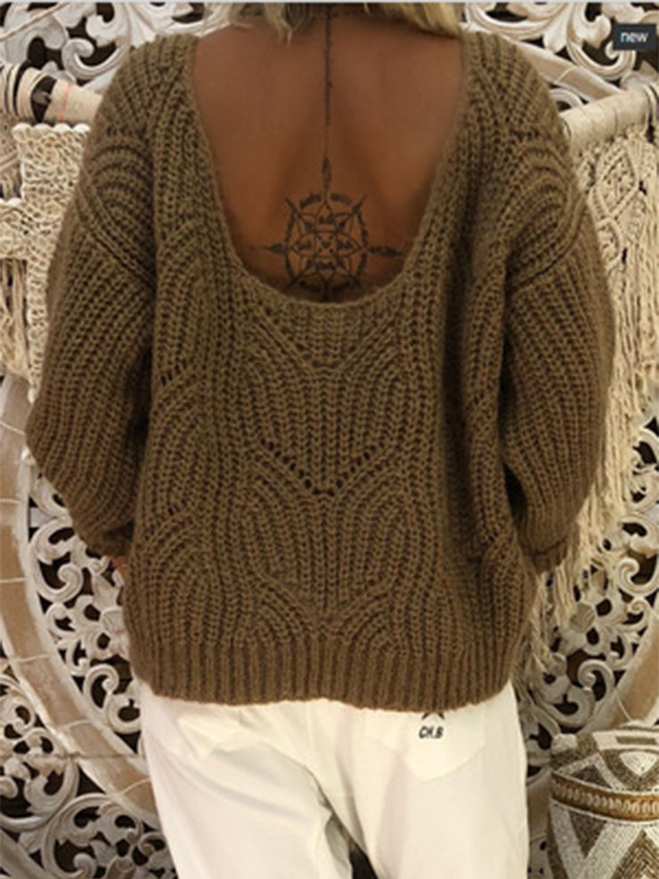 Women's Round Neck Solid Winter Casual Sweater