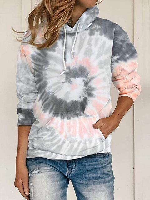 Tie Dye Pockets Long Sleeve Women Hoodies