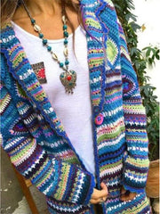 Women Color-block Vintage Knitted Cardigans