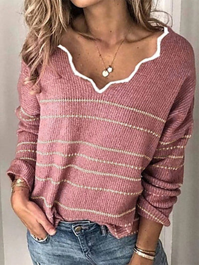 Women Ruffled Collar Long Sleeves Casual Sweater