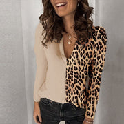 Women Leopard Color Block Paneled Long Sleeves Blouses