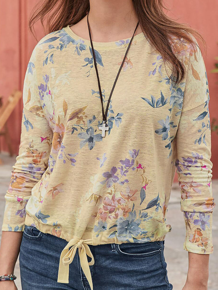 Floral Printed Long Sleeve Women T-shirts