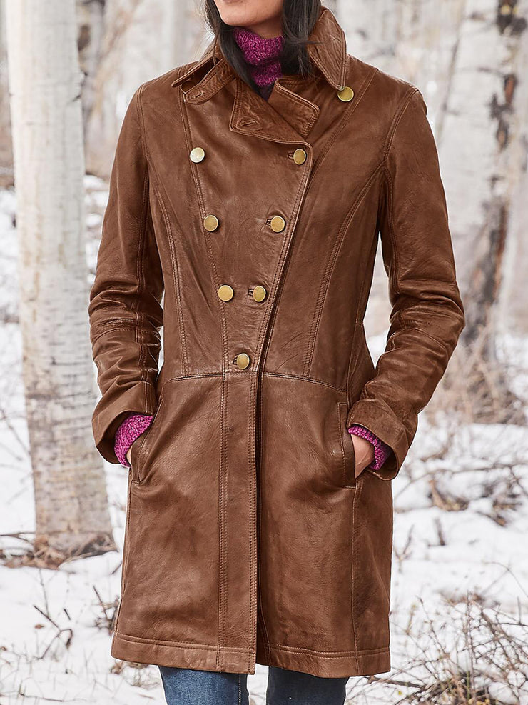Faux Leather Pockets Buttoned Women Trench Coats