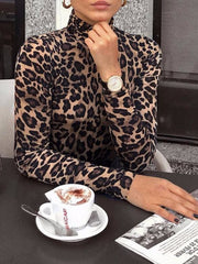 Women's Half Collar Long Sleeve Leopard Slim Fit Shirt