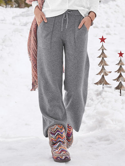 Solid Pockets Women Knitted Pants & Trousers