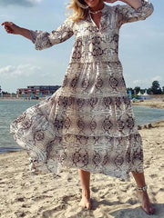 Women's V Neck 3/4 Sleeve Plus Size Slim Fit Snake Printed Floral Dress