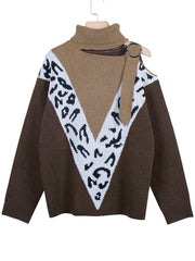 Women Leopard Color Block Cold Shoulder Paneled Sweater