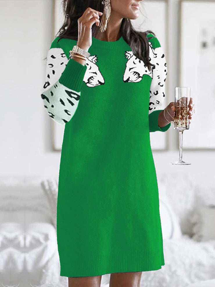 Women Leopard Color Block Paneled Sweater Dresses