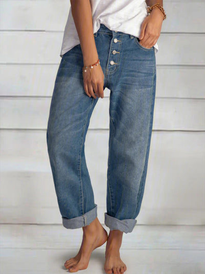 Women'S Blue Casual Buttoned Pants
