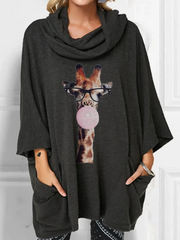 Women Cartoon Giraffe Printed Cowl Loose Blouse With Pocket