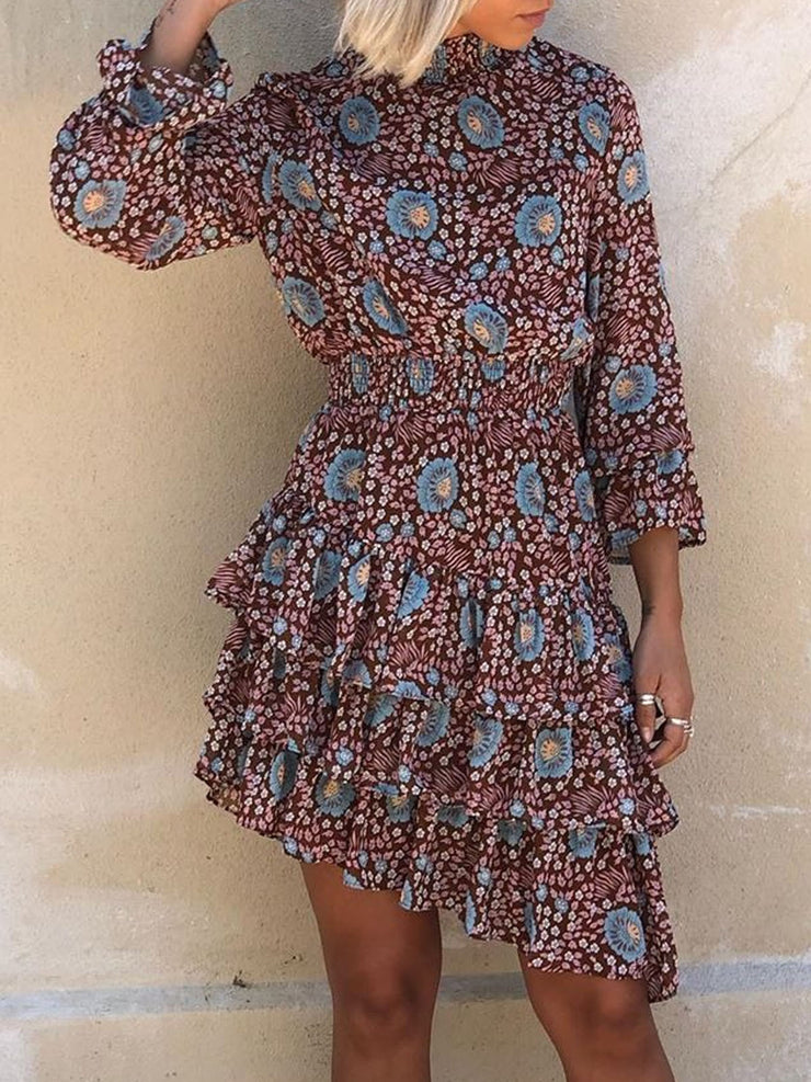 Women's Long Sleeve Half High Collar Floral Printed Midi Dress