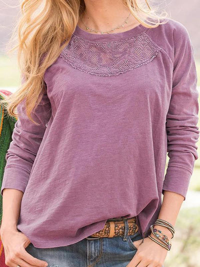 Casual Solid Paneled Lace Crew Neck Long Sleeves Blouse