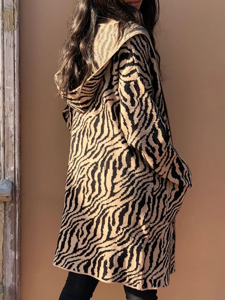 Women's Fashion Tiger Stripes Hooded Cardigan Casual Sweater
