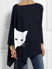 Women Cat Print Long Sleeves Asymetrical Batwing T-Shirts