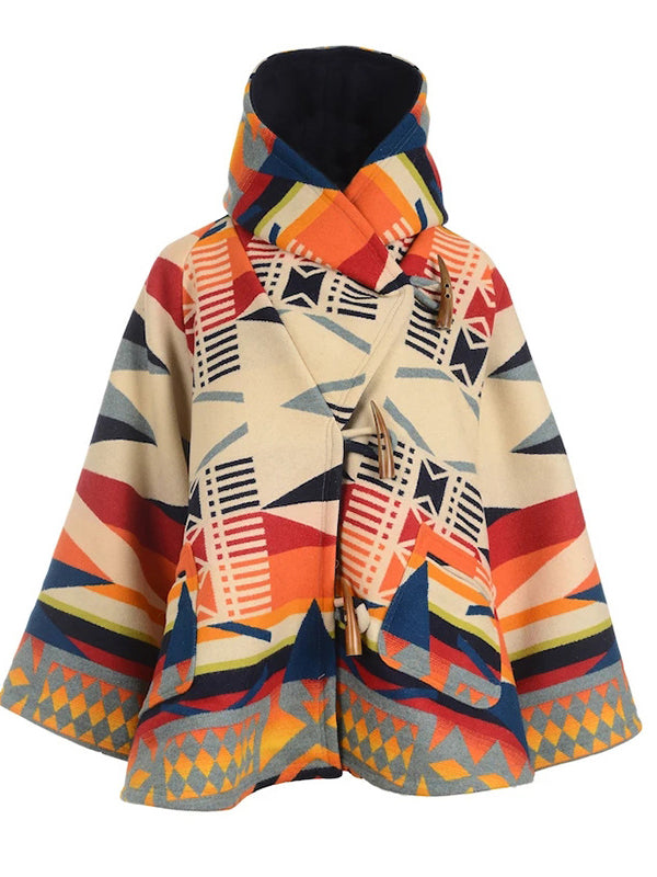 Women's long-sleeved hooded coat printed woolen coat