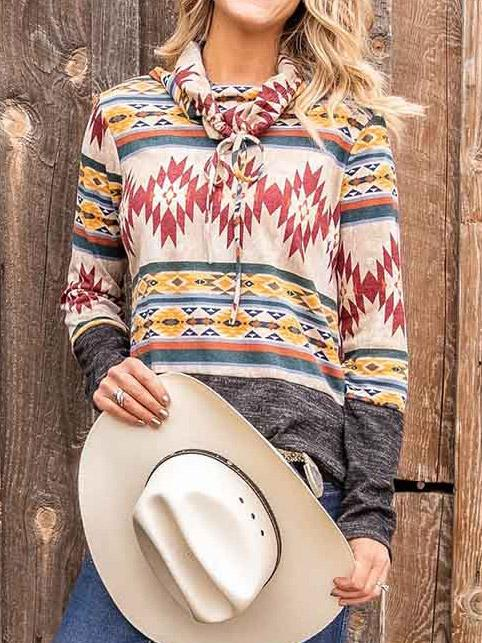 Women's Long Sleeve Aztec Pullover