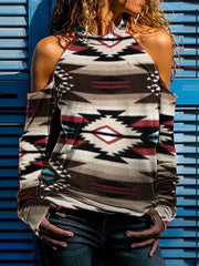 Western Tribal Style Printed Off-Shoulder Long-Sleeved T-Shirt