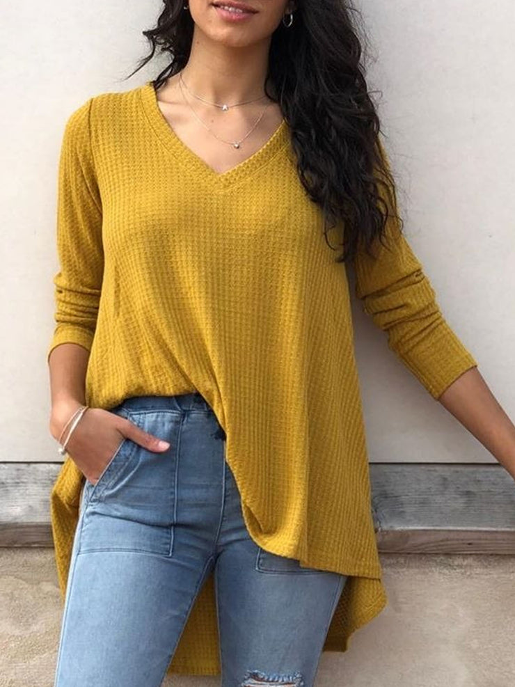 Women's V Neck Long Sleeve Plus Size Slim Fit Casual Shirt Pullover