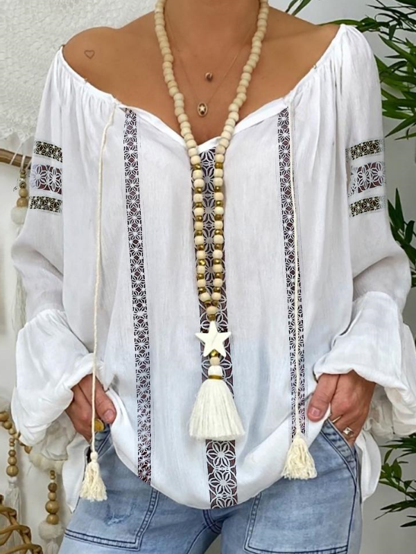 Women Lace Insert Tassel Design Lantern Sleeve Shirt