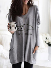 Cartoon Cat Print Pockets Long Sleeve Plus Size Loose Blouse