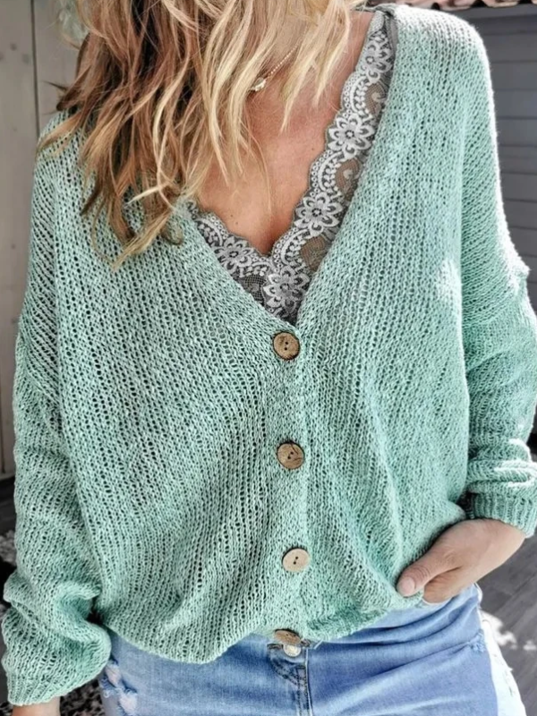 Women Green Casual V Neck Long Sleeve Tops