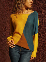 Women'S Long-Sleeved Stitching Sweater